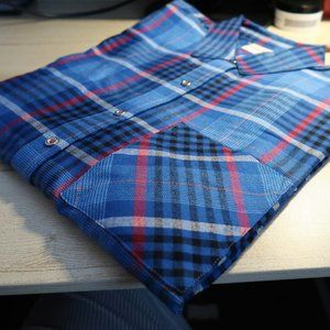 Rafaella Tops - Blue pink plaid 3/4 sleeve blouse Size Small
